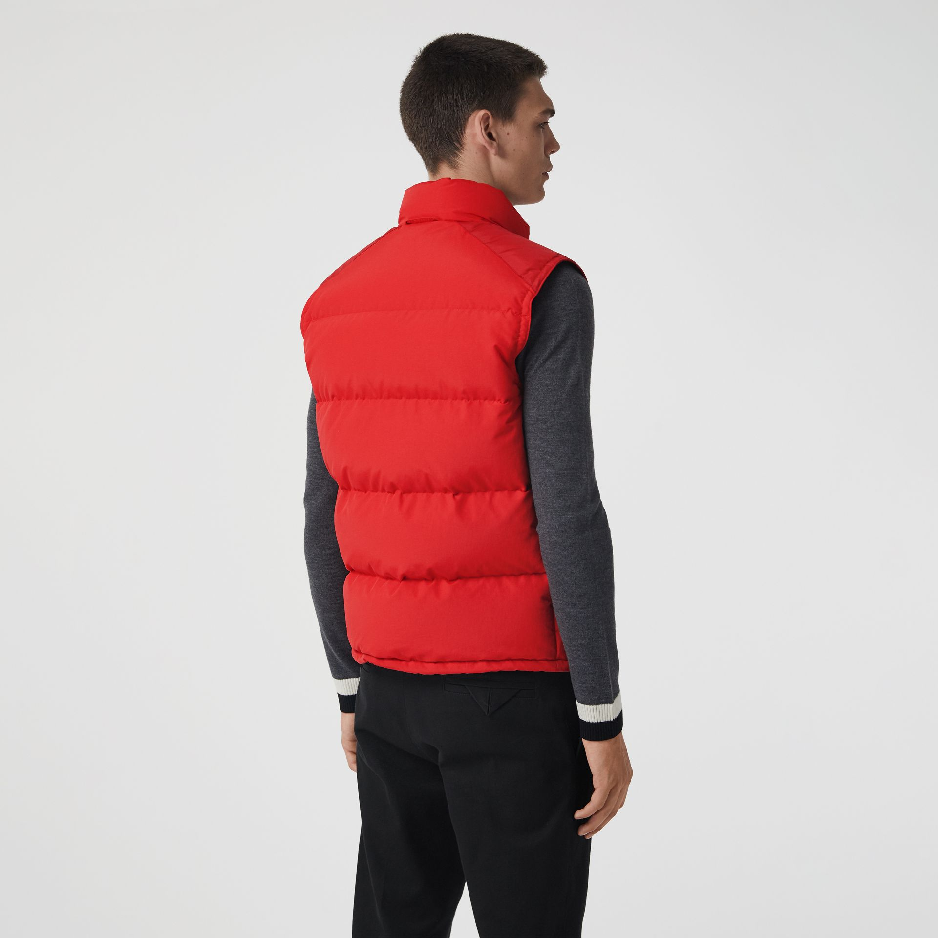 Embroidered Archive Logo Down-filled Gilet in Bright Red - Men | Burberry United Kingdom - gallery image 2
