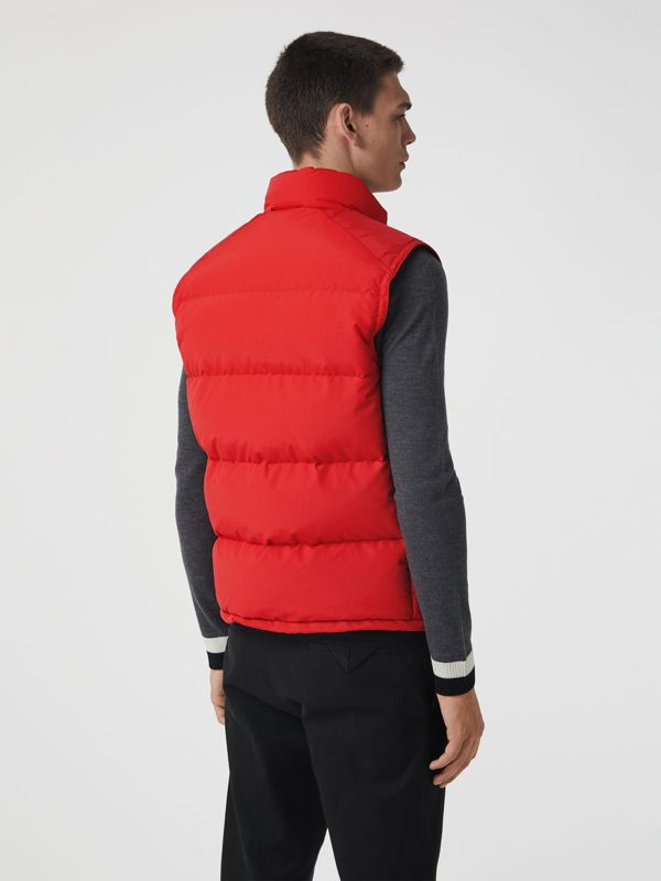 Embroidered Archive Logo Down-filled Gilet in Bright Red - Men | Burberry United Kingdom - cell image 2
