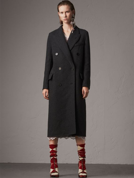 Wool Cashmere Double-breasted Coat in Grey/black