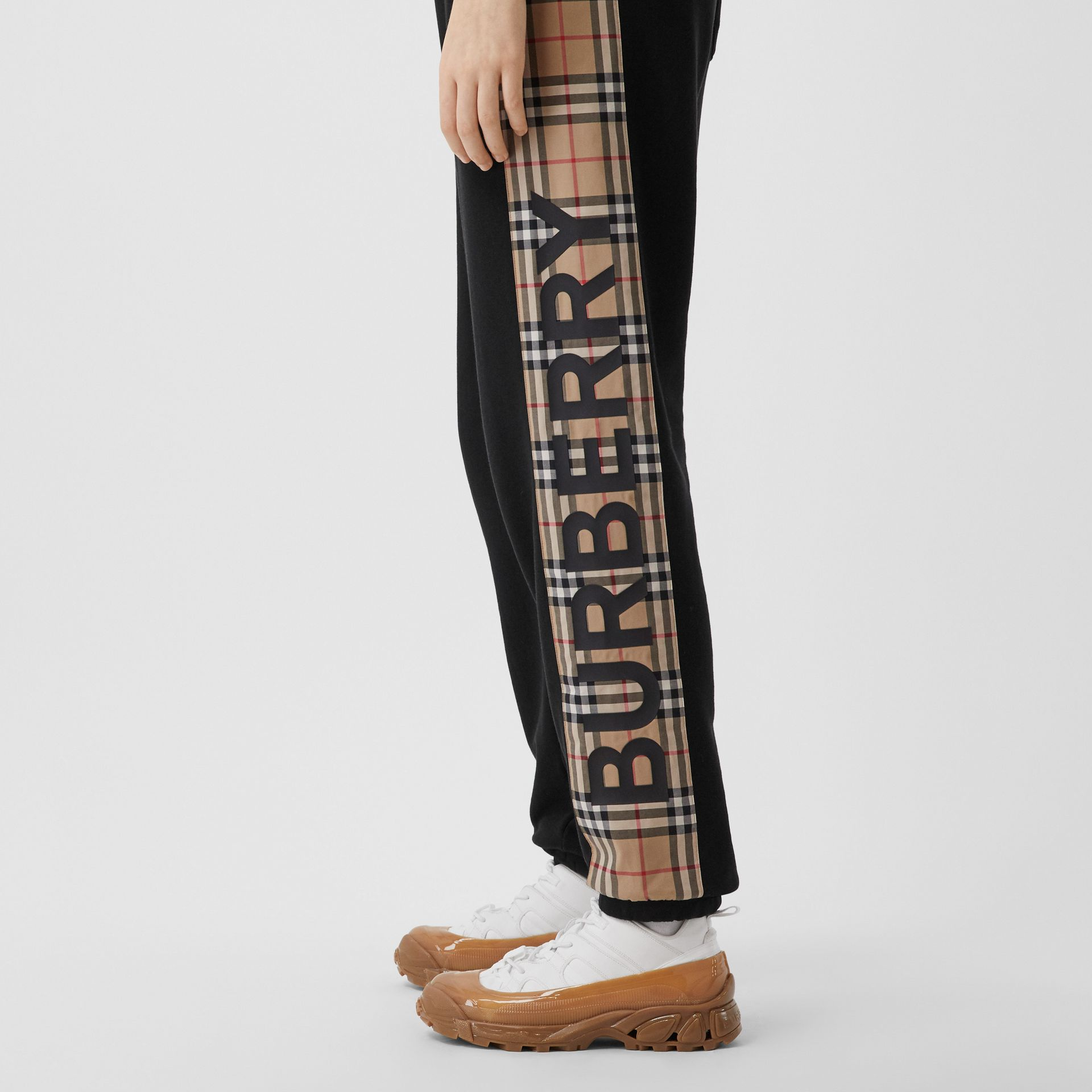 Vintage Check Panel Cotton Trackpants in Black - Women | Burberry United Kingdom - gallery image 1