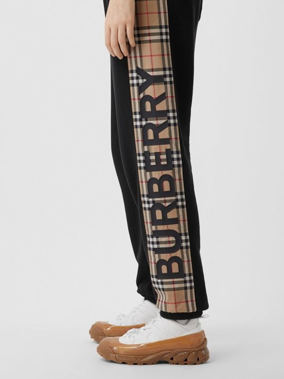 Vintage Check Panel Cotton Trackpants in Black - Women | Burberry - cell image 1