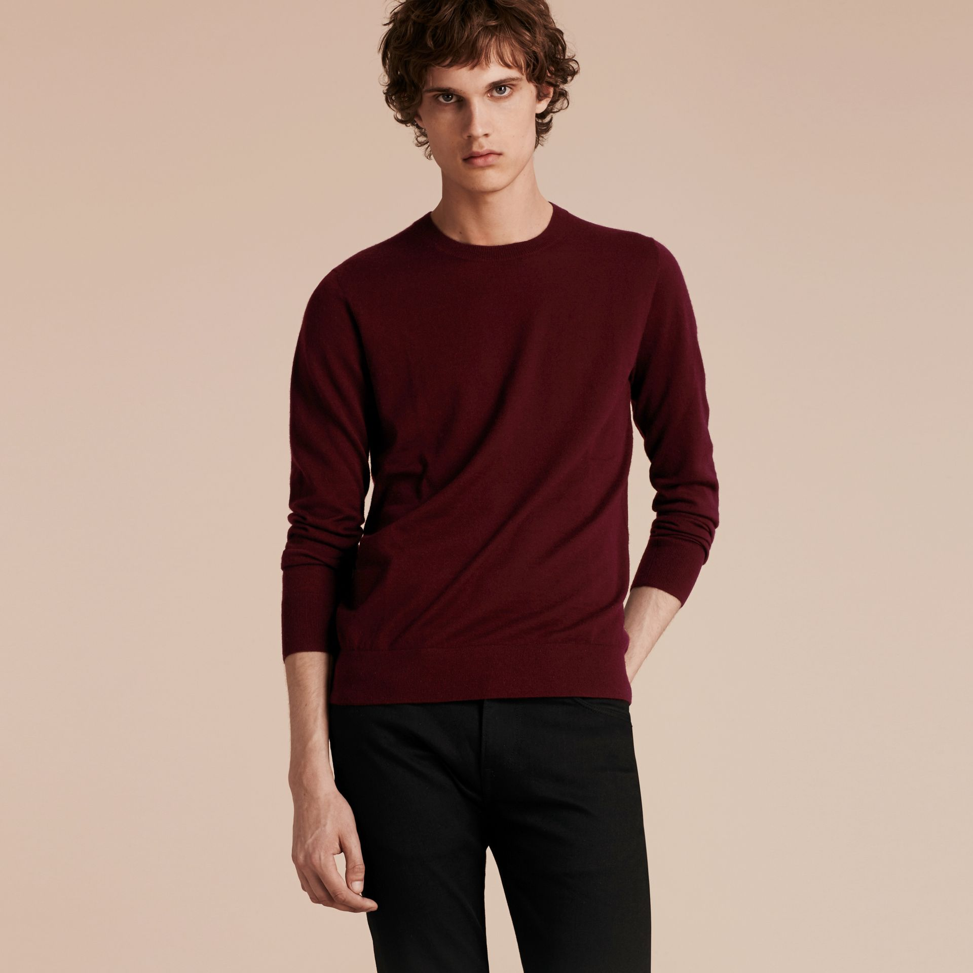 Deep claret Lightweight Crew Neck Cashmere Sweater with Check Trim Deep Claret - gallery image 6