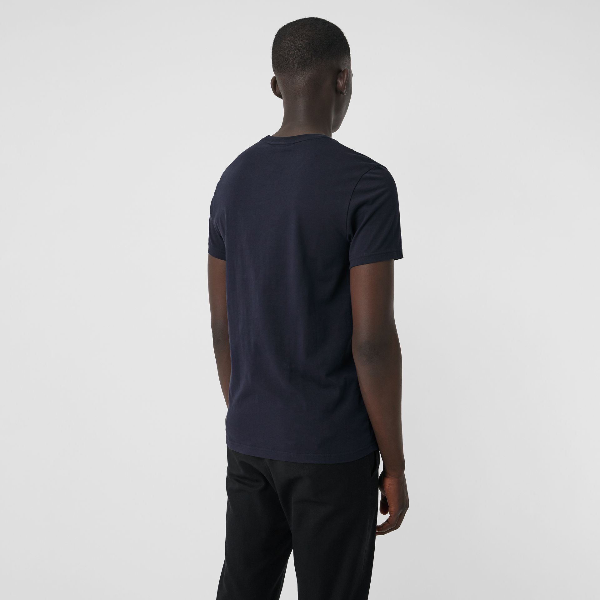 Embroidered Logo Cotton T-shirt in Navy - Men | Burberry - gallery image 2