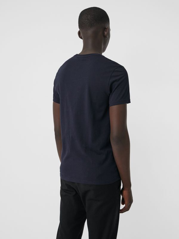 Embroidered Logo Cotton T-shirt in Navy - Men | Burberry - cell image 2