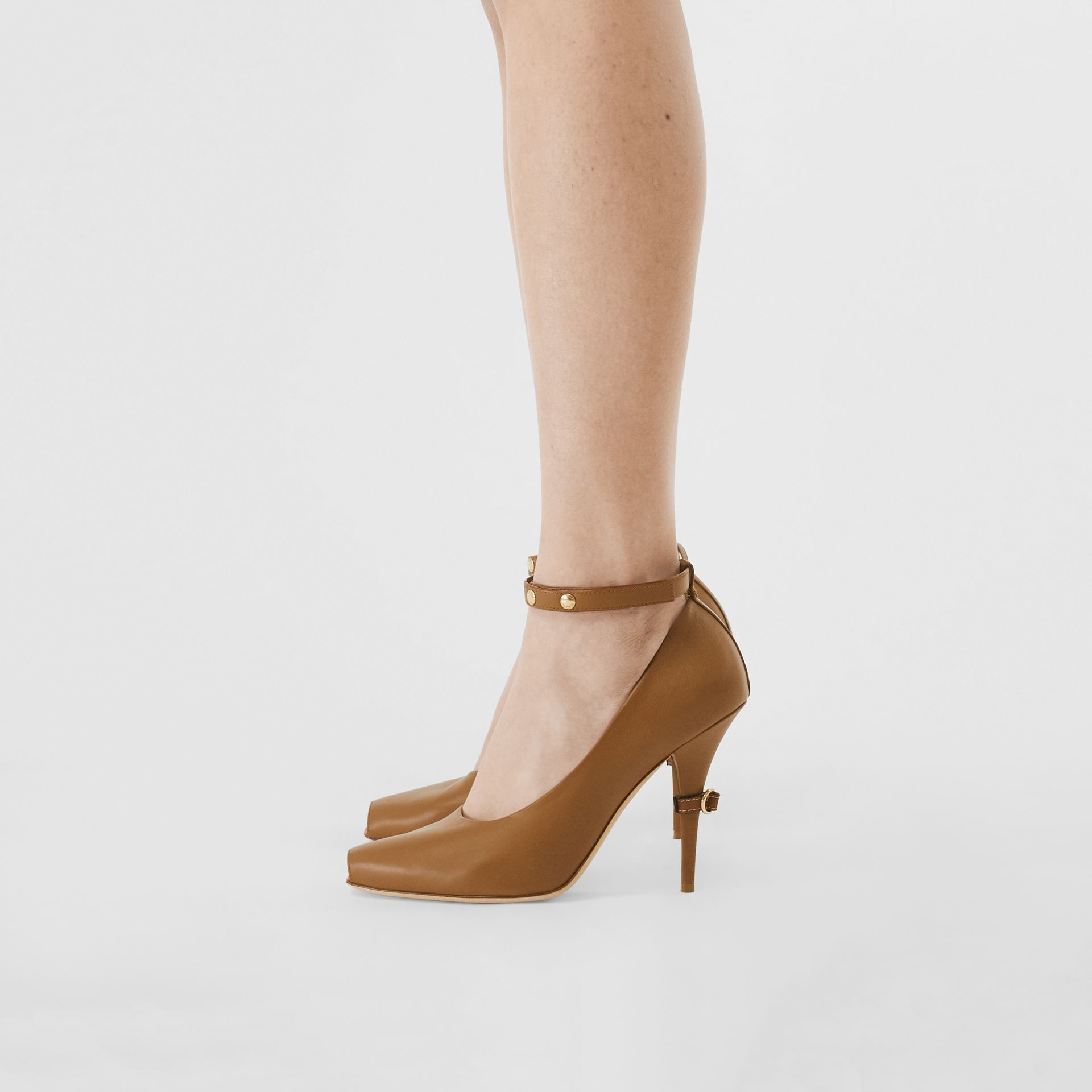 D-ring Detail Leather Peep-toe Pumps in Amber Brown - Women | Burberry - gallery image 2