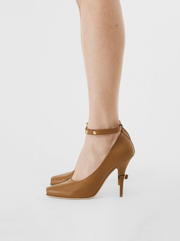 D-ring Detail Leather Peep-toe Pumps in Amber Brown - Women | Burberry - cell image 2