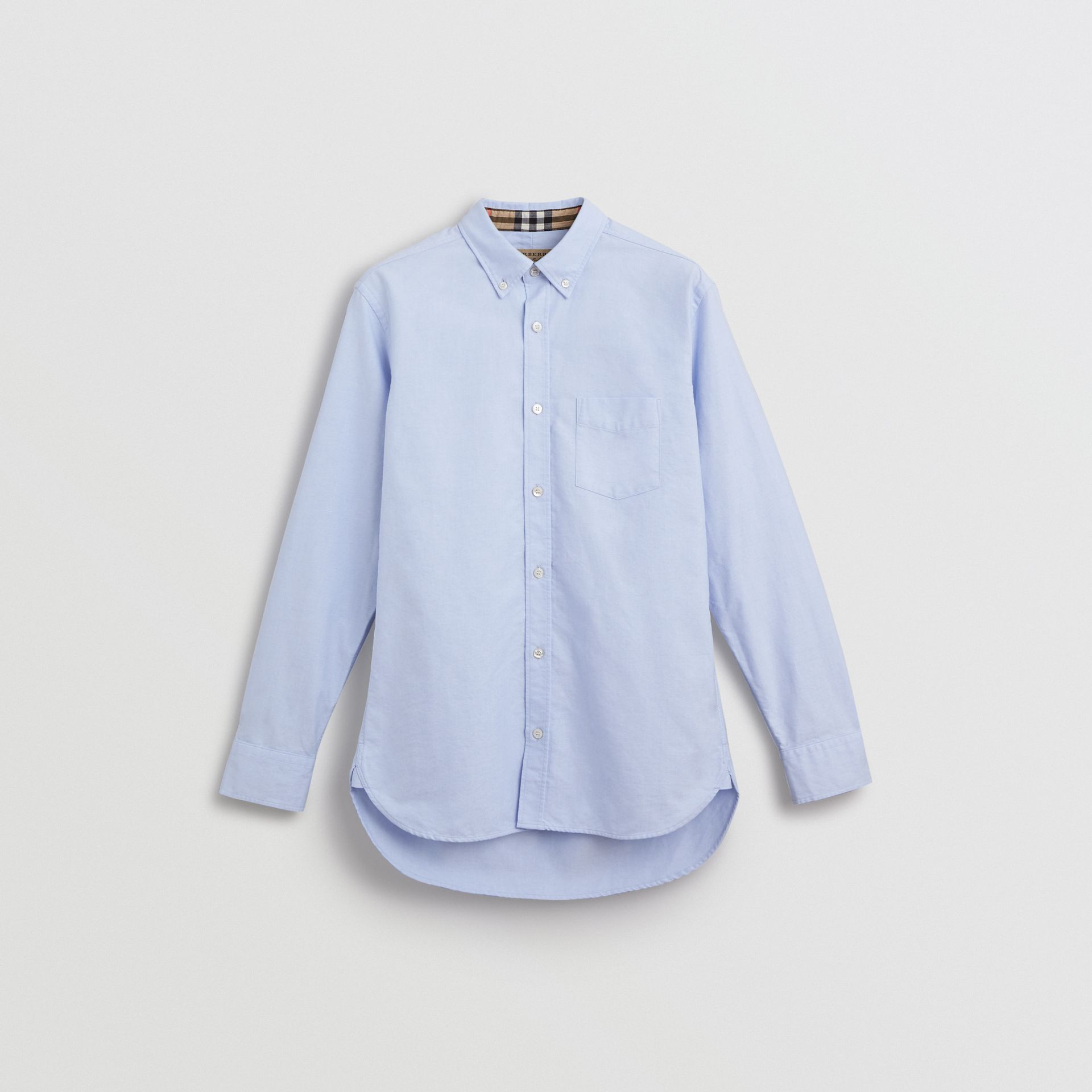 Check Cuff Cotton Oxford Shirt in Cornflower Blue - Men | Burberry - gallery image 3
