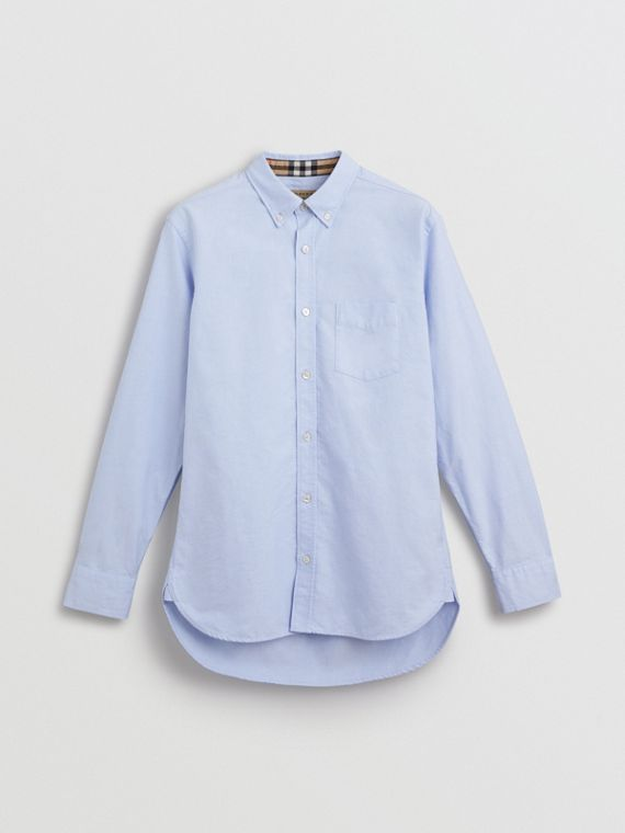 Check Cuff Cotton Oxford Shirt in Cornflower Blue