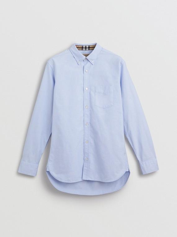 Chemise Oxford en coton avec poignets à motif check (Bleu Barbeau)