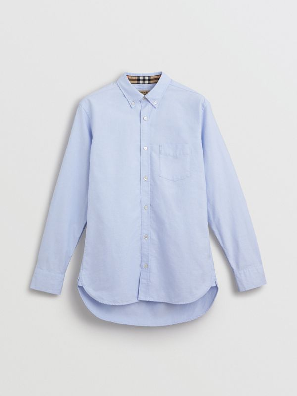 Check Cuff Cotton Oxford Shirt in Cornflower Blue - Men | Burberry - cell image 3