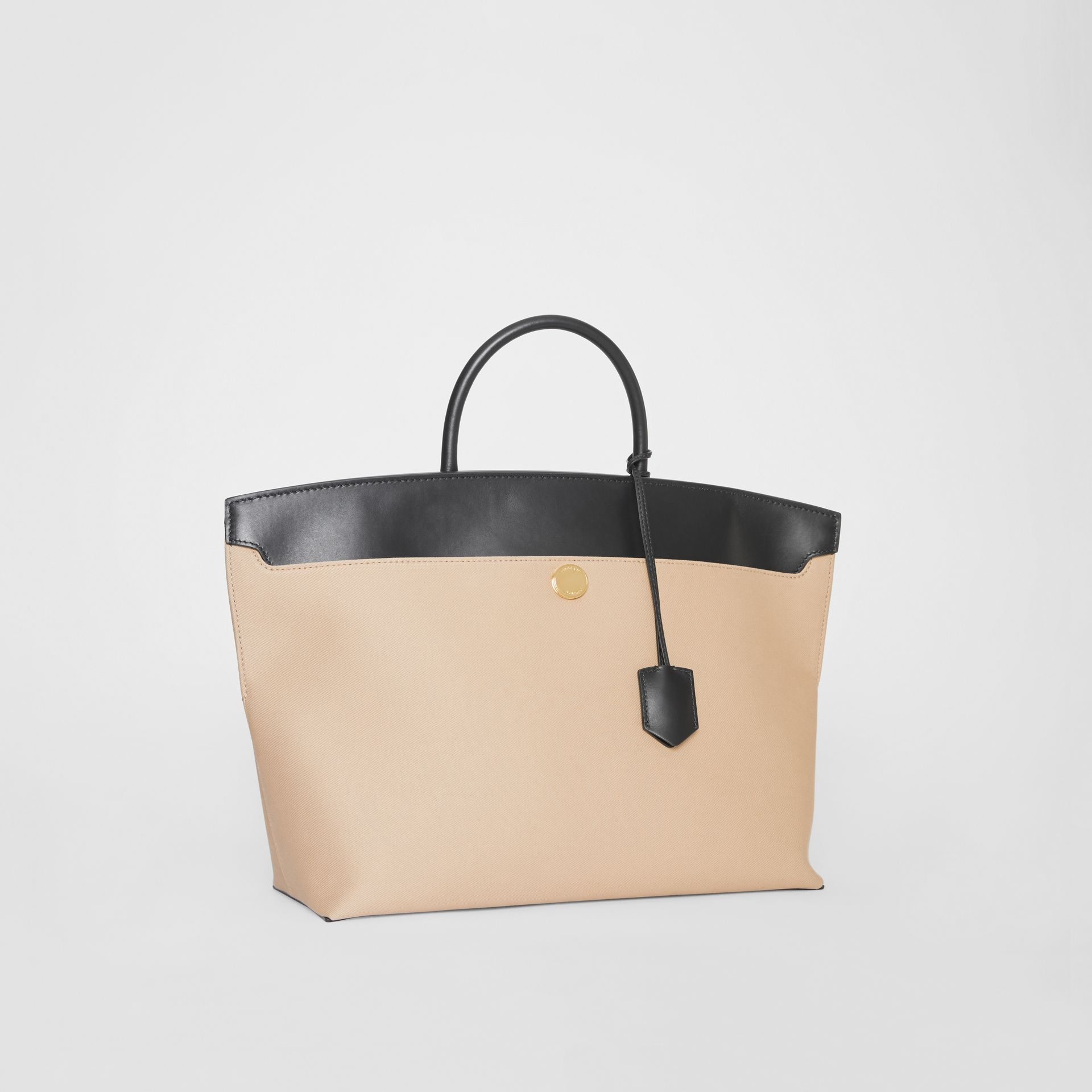 Cotton Canvas and Leather Society Top Handle Bag in Black/honey - Women | Burberry Singapore - gallery image 6