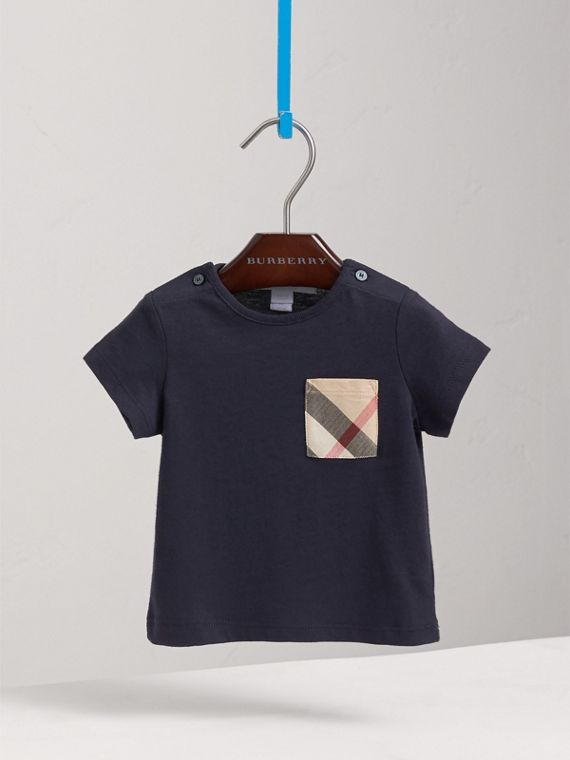 Check Pocket Cotton T-shirt in True Navy | Burberry - cell image 2
