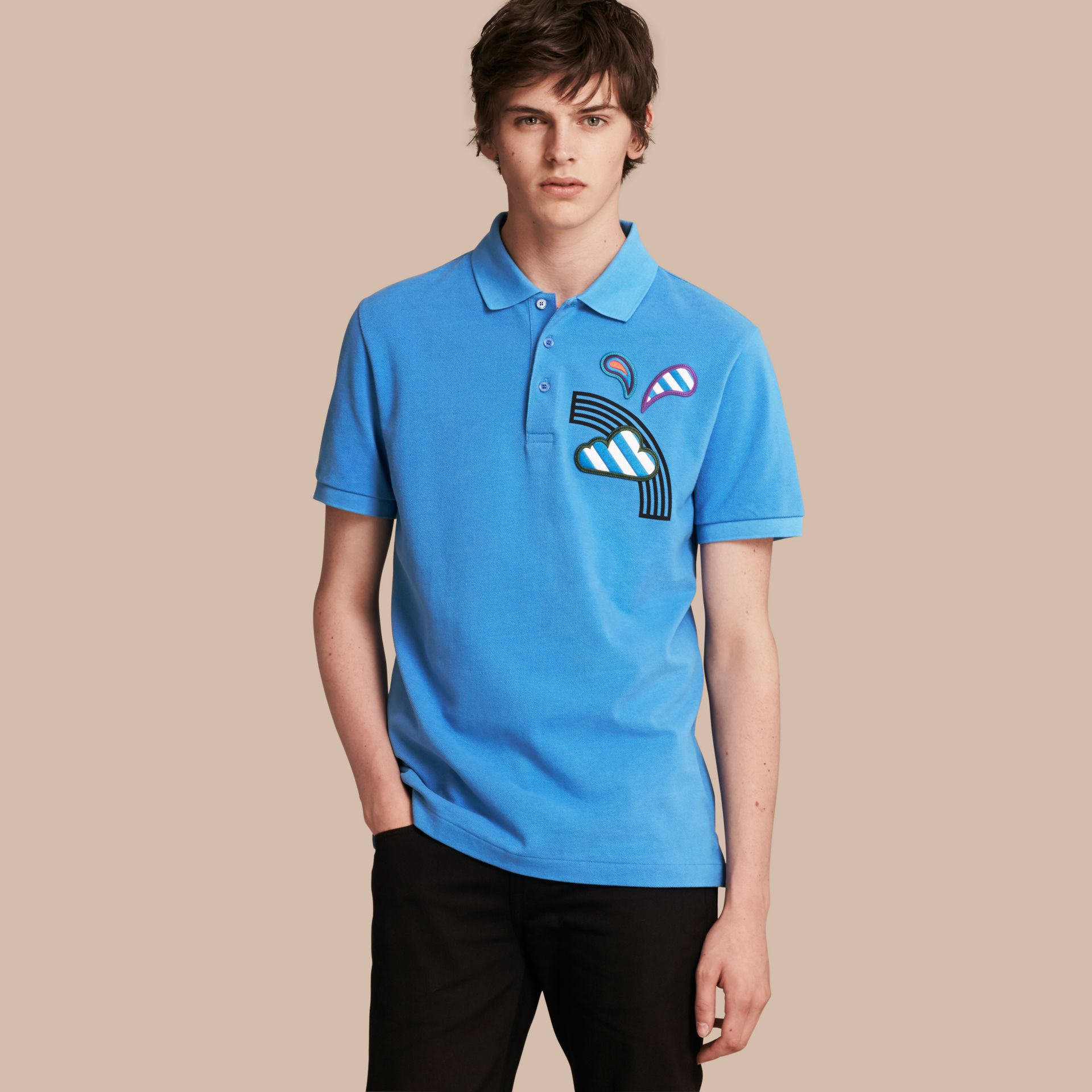Weather Appliqué Cotton Piqué Polo Shirt Chalk Blue - gallery image 1