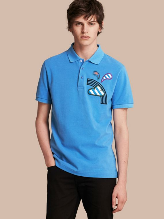 Weather Appliqué Cotton Piqué Polo Shirt Chalk Blue