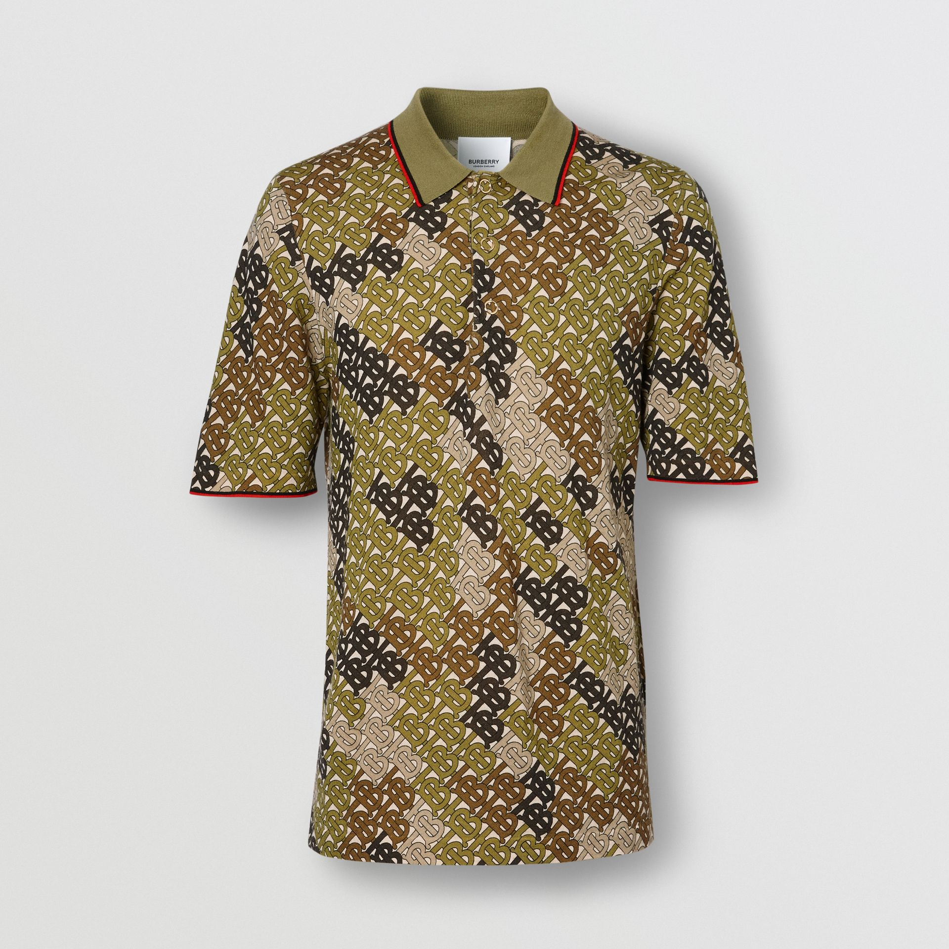 Monogram Print Tipped Merino Wool Polo Shirt in Khaki - Men | Burberry - gallery image 3