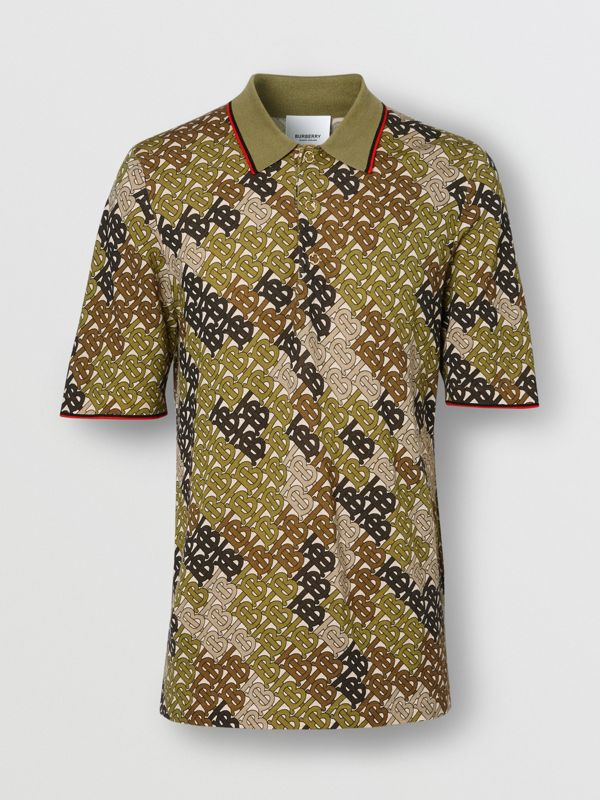 Monogram Print Tipped Merino Wool Polo Shirt in Khaki - Men | Burberry - cell image 3