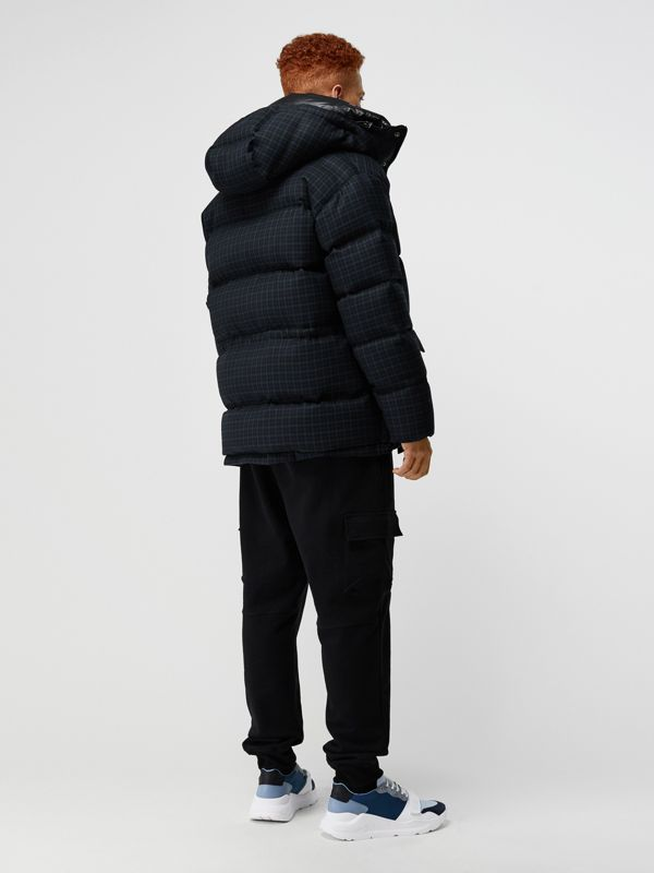 Check Wool Down-filled Hooded Jacket in Navy - Men | Burberry Australia - cell image 2
