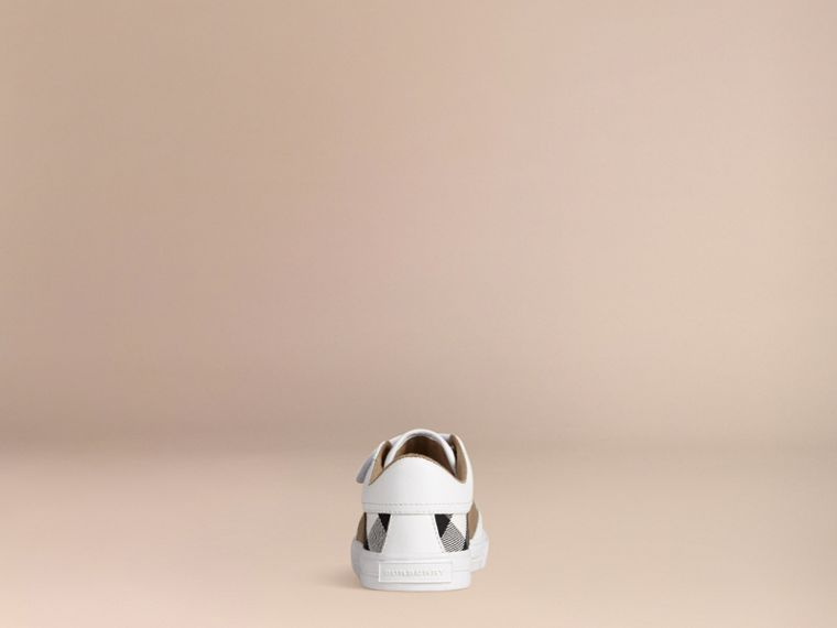 House Check and Leather Trainers in White | Burberry - cell image 1