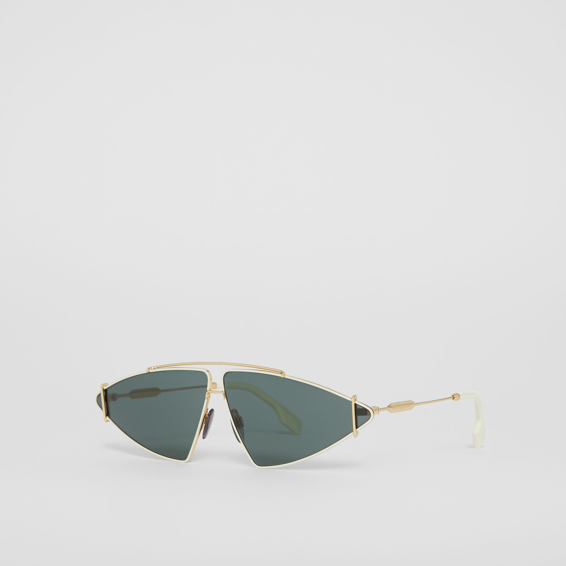 Gold-plated Triangular Frame Sunglasses in Pistachio - Women | Burberry Hong Kong - gallery image 5