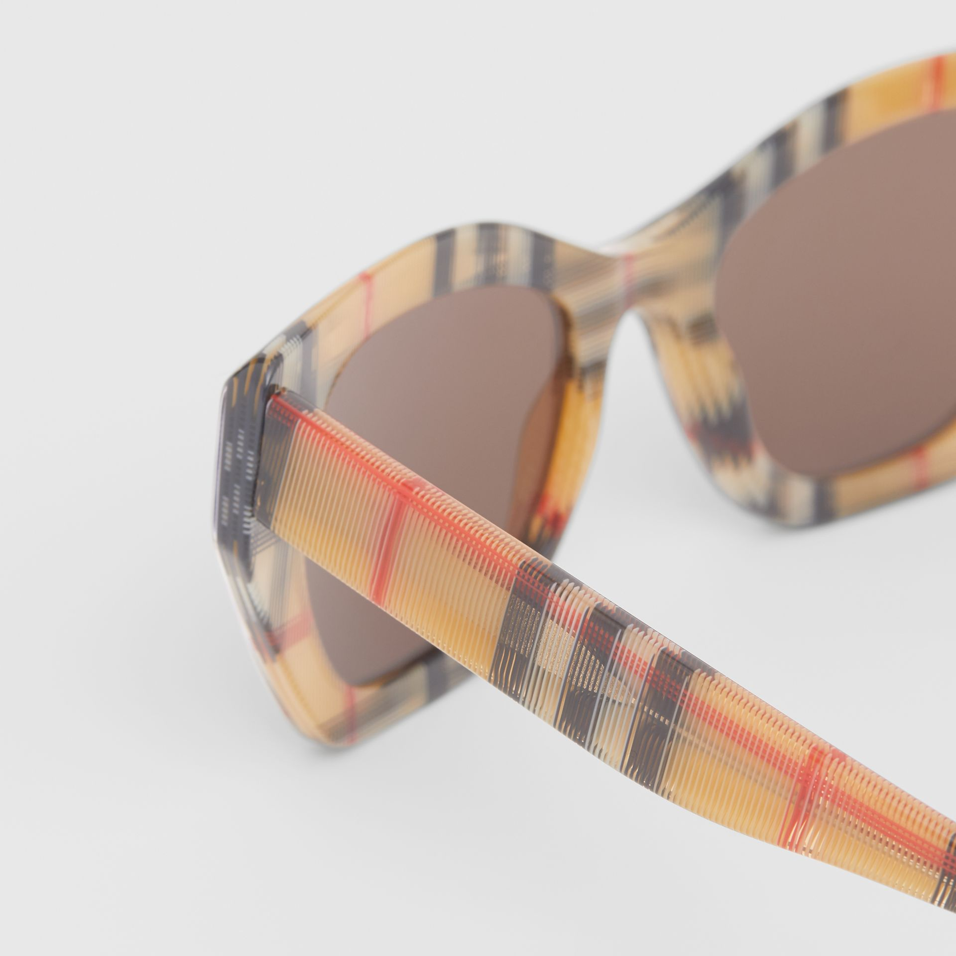 Vintage Check Butterfly Frame Sunglasses in Antique Yellow - Women | Burberry United Kingdom - gallery image 1