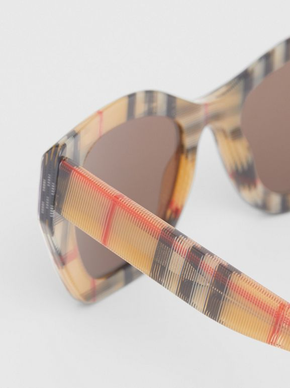 Vintage Check Butterfly Frame Sunglasses in Antique Yellow - Women | Burberry United Kingdom - cell image 1