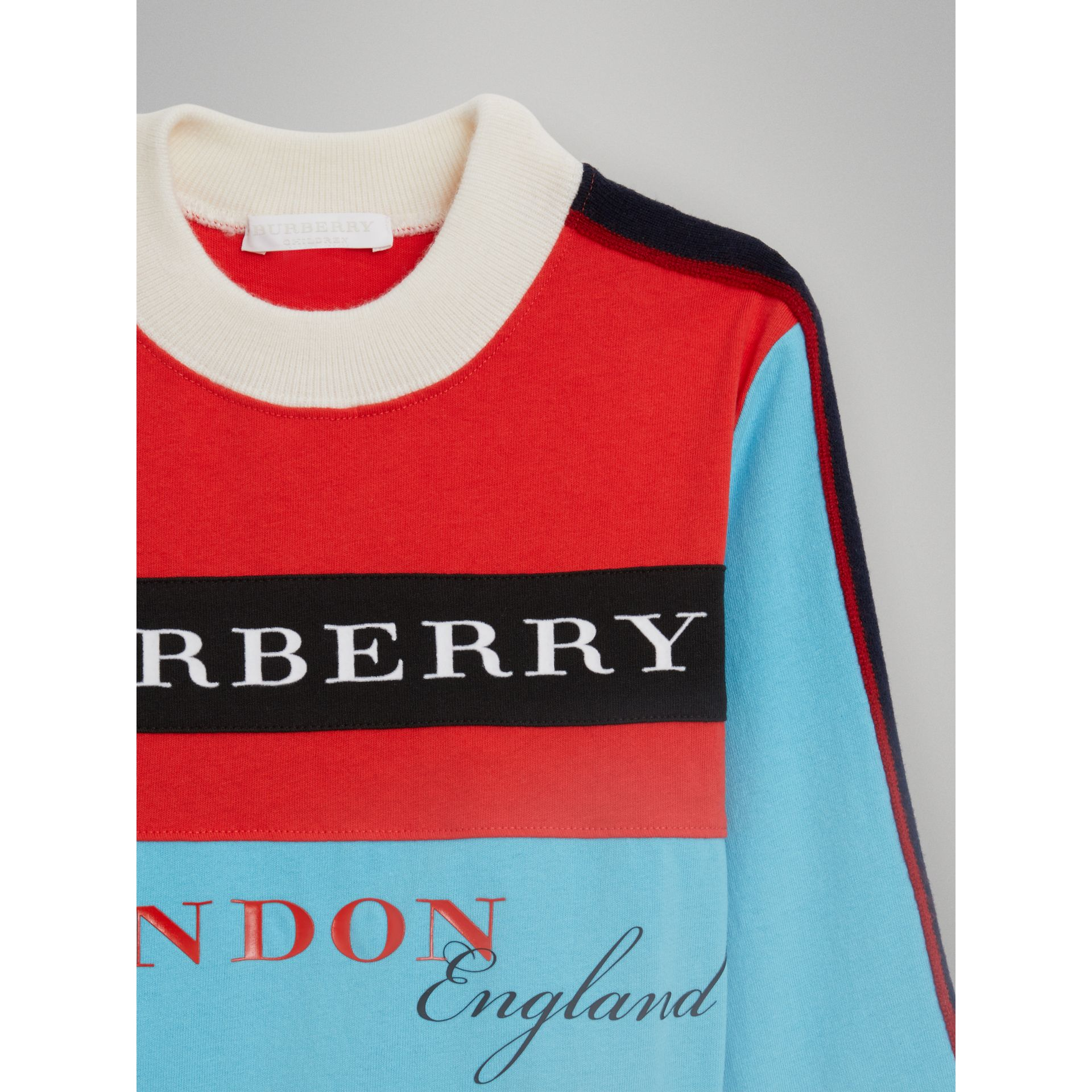 Logo Print Panelled Cotton Sweatshirt in Bright Red | Burberry - gallery image 4