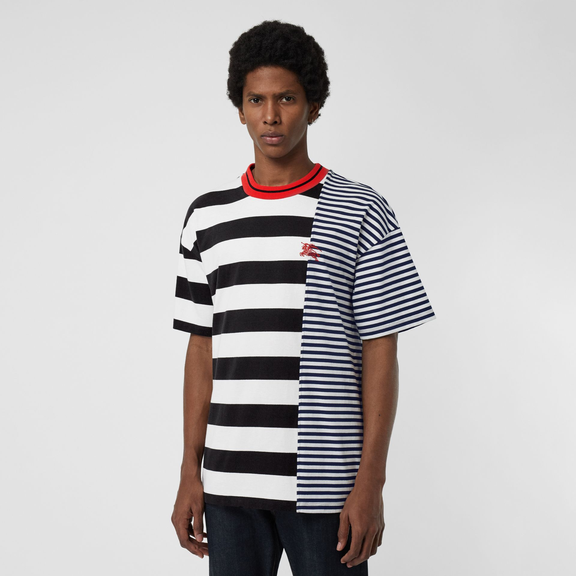 Contrast Stripe Cotton T-shirt in Navy - Men | Burberry - gallery image 0
