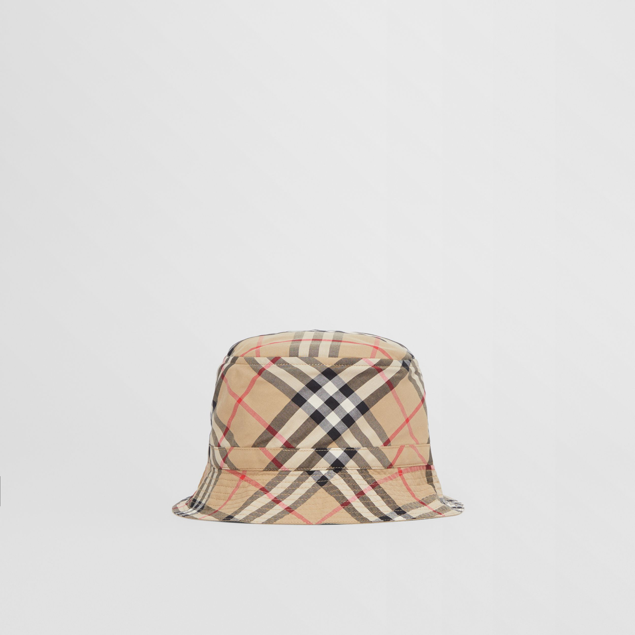 Vintage Check Cotton Bucket Hat in Archive Beige - Children | Burberry - 1