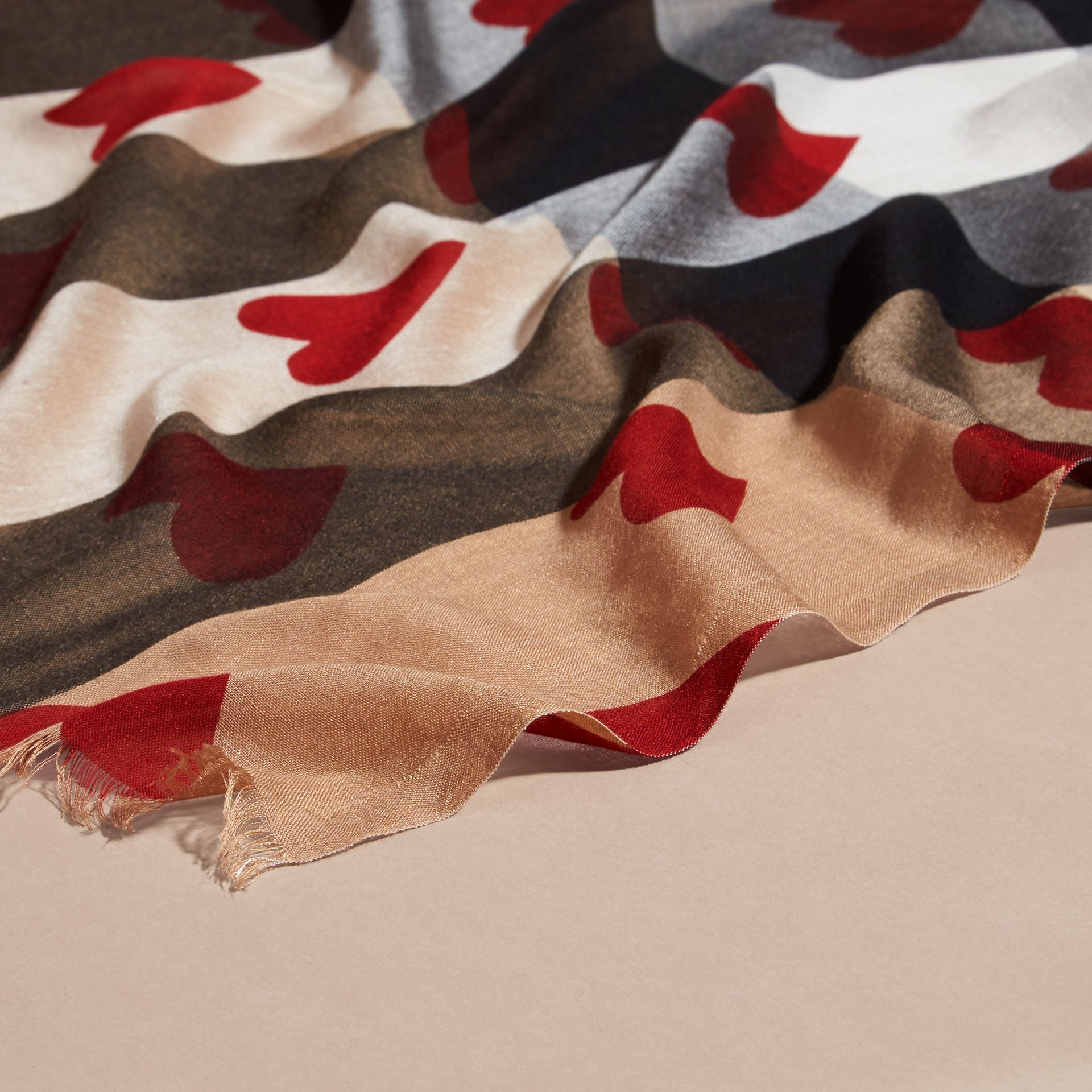 Heart and Check Modal and Cashmere Scarf in Camel/red - gallery image 2