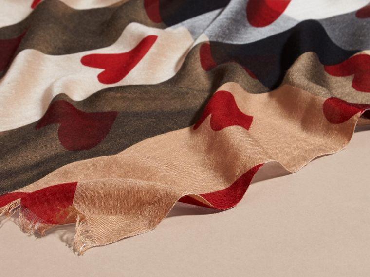Heart and Check Modal and Cashmere Scarf in Camel/red - Women | Burberry - cell image 1