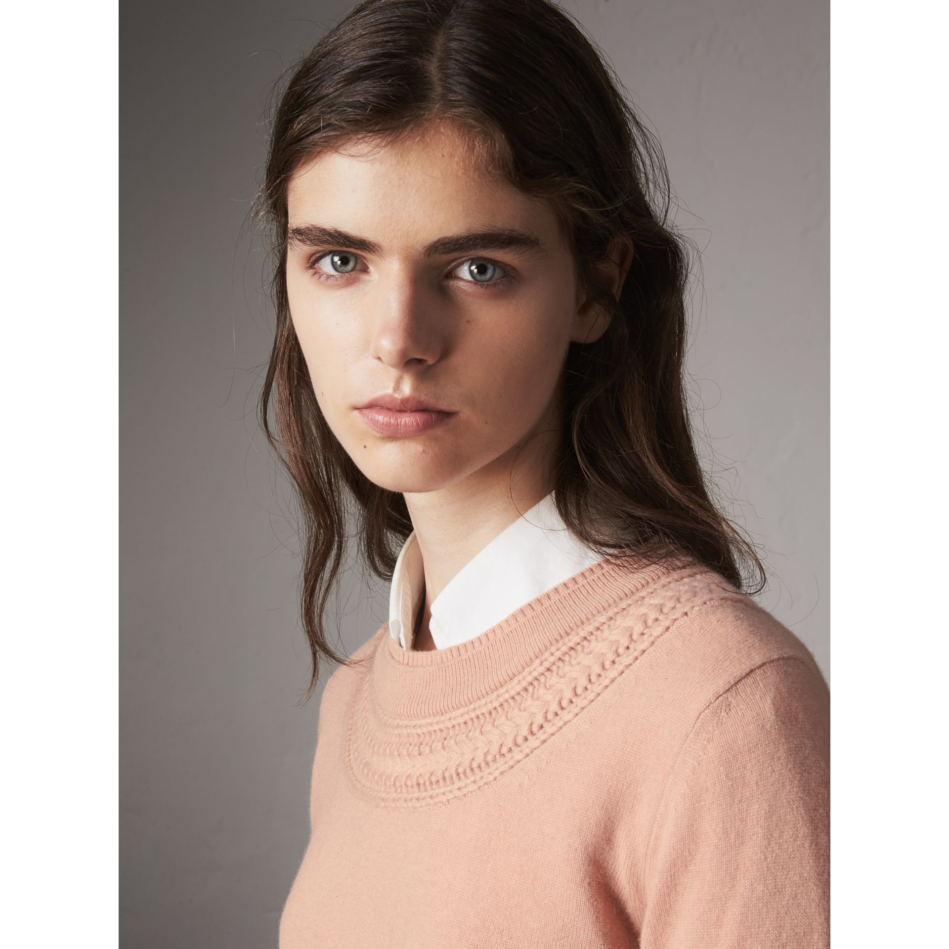 Cable Knit Yoke Cashmere Sweater in Apricot Pink - Women | Burberry - gallery image 2