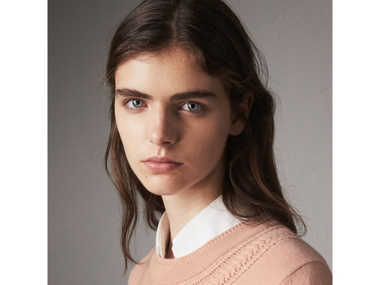 Cable Knit Yoke Cashmere Sweater in Apricot Pink - Women | Burberry - cell image 1