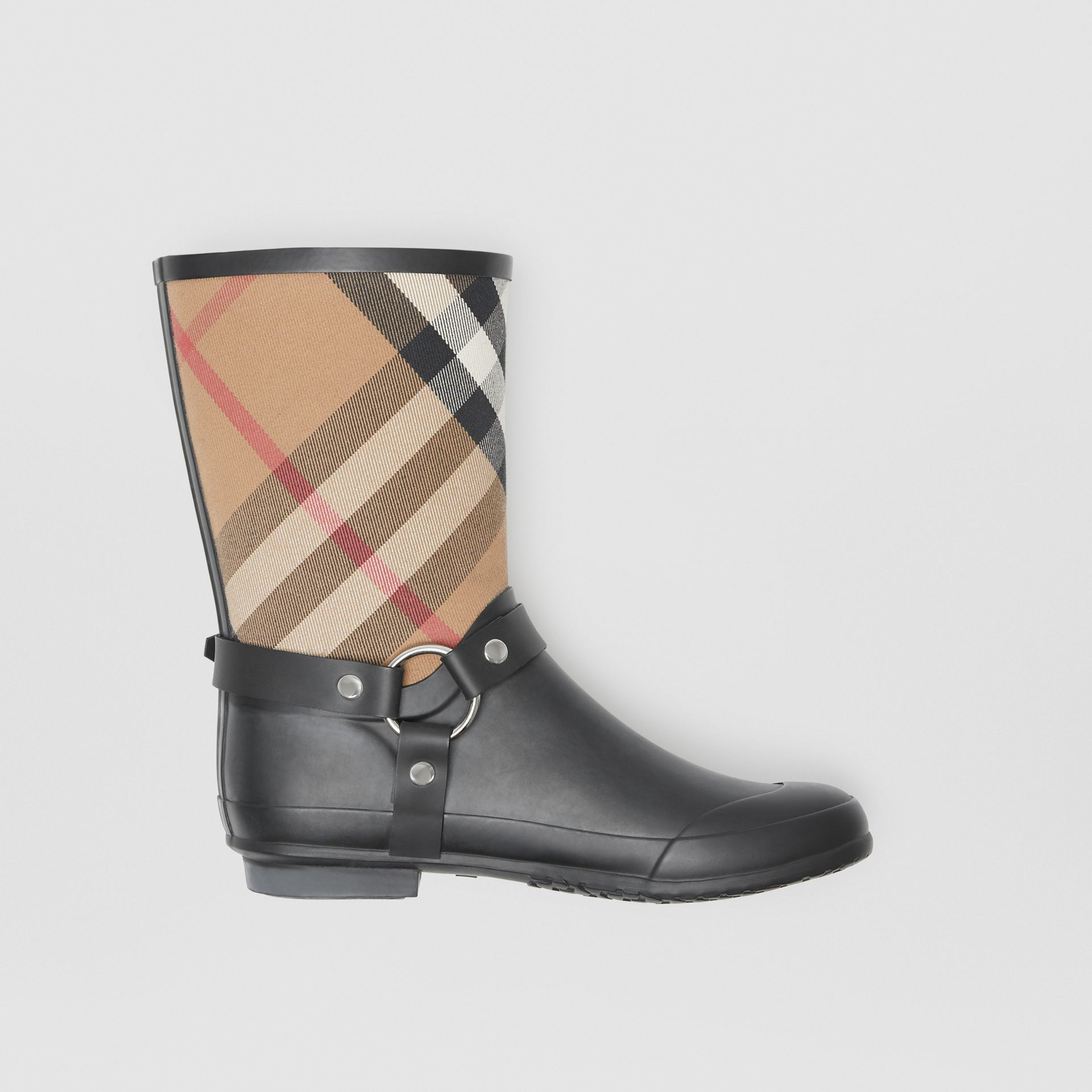 Buckle and Strap Detail Check Rain Boots in House Check/black - Women | Burberry Australia - gallery image 0