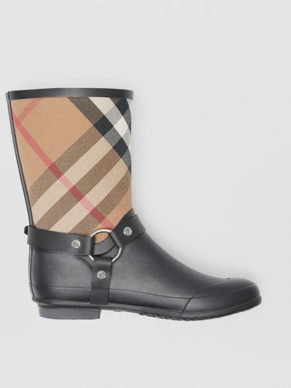Buckle and Strap Detail Check Rain Boots in House Check/black
