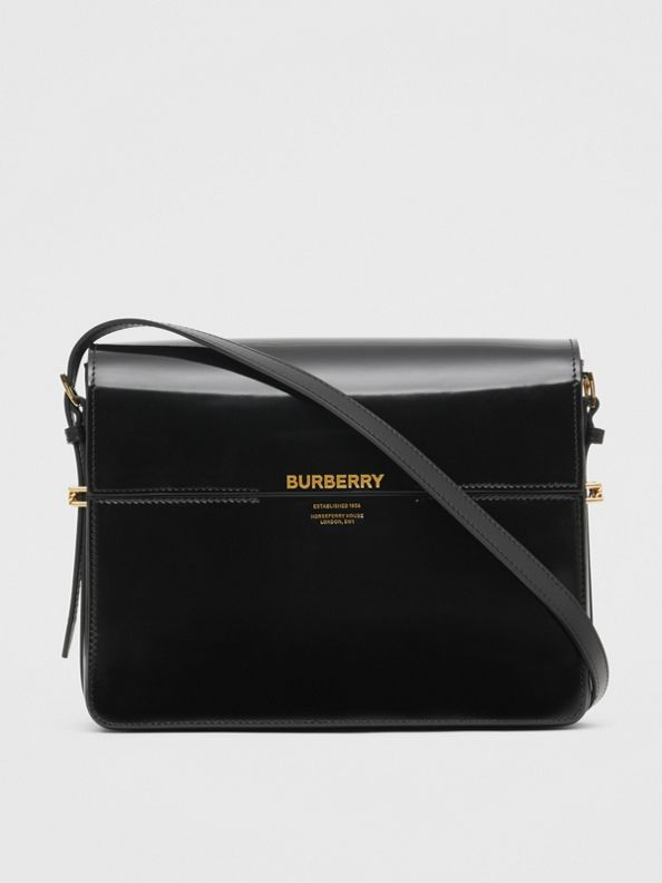Grand sac Grace en cuir verni (Noir)