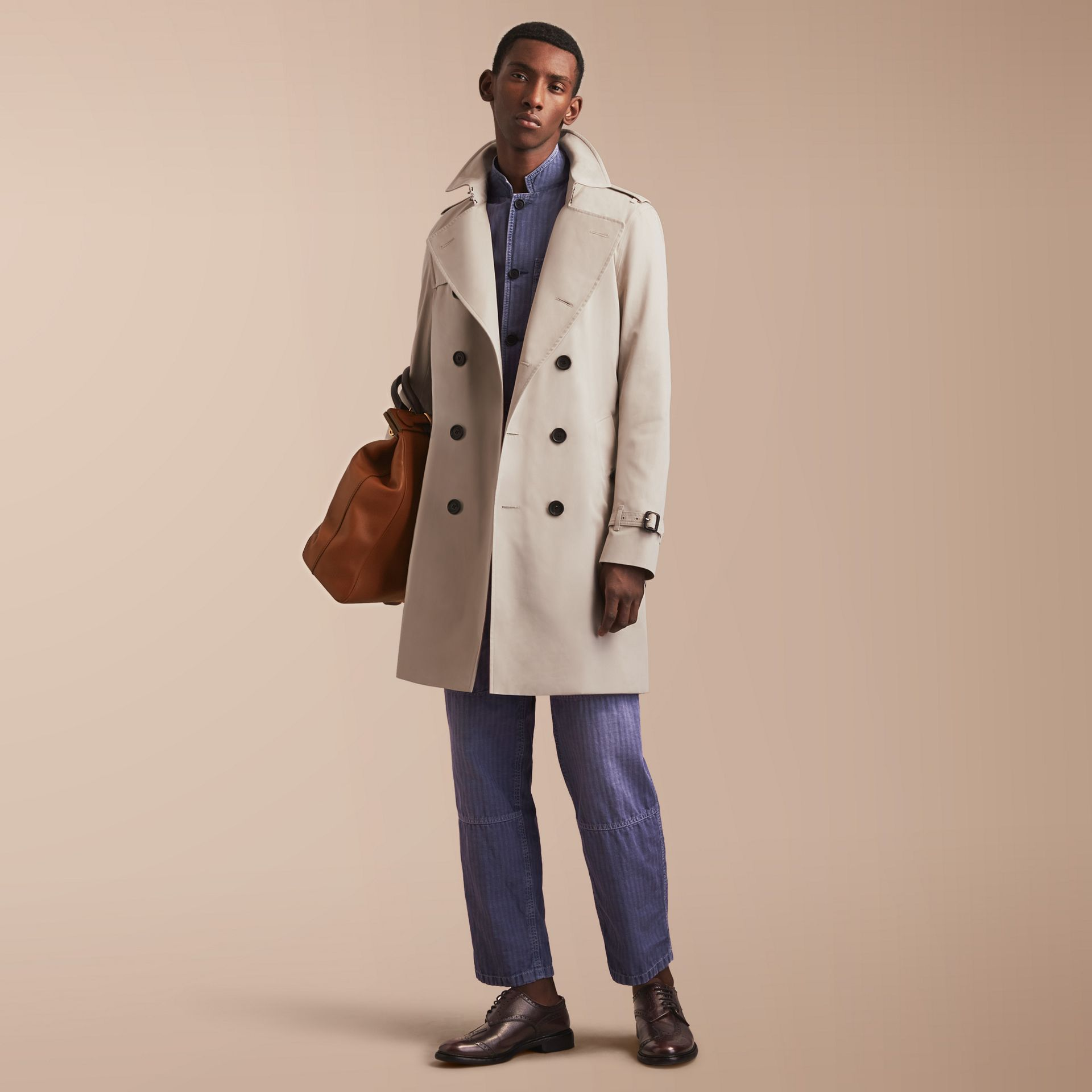 The Kensington – Long Heritage Trench Coat in Stone - gallery image 1