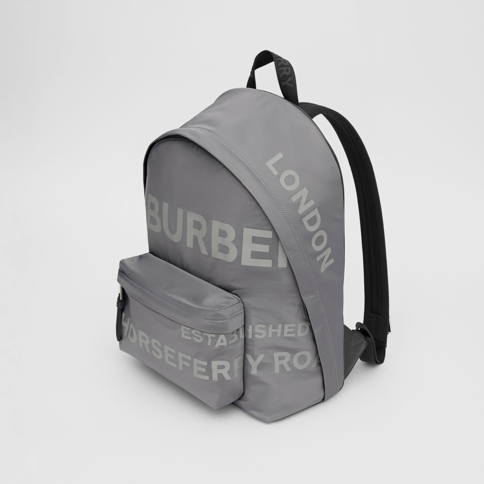 Horseferry Print ECONYL® Backpack in Cloud Grey | Burberry United States - gallery image 4