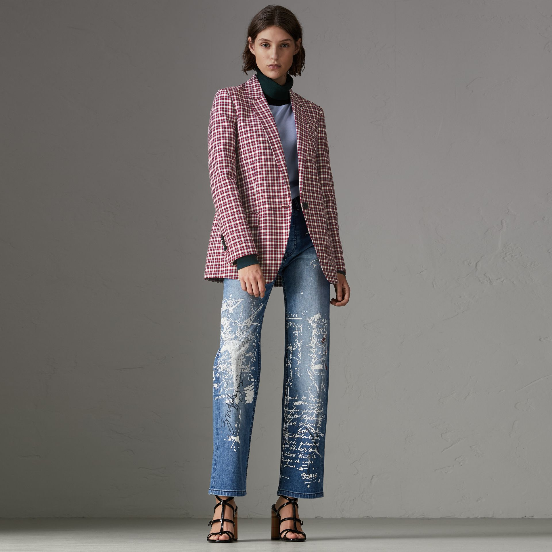 Straight Fit Postcard Print Stretch Denim Jeans in True Indigo Melange - Women | Burberry - gallery image 0