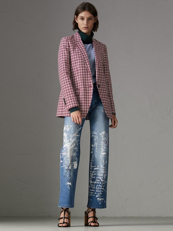 Straight Fit Postcard Print Stretch Denim Jeans in True Indigo Melange