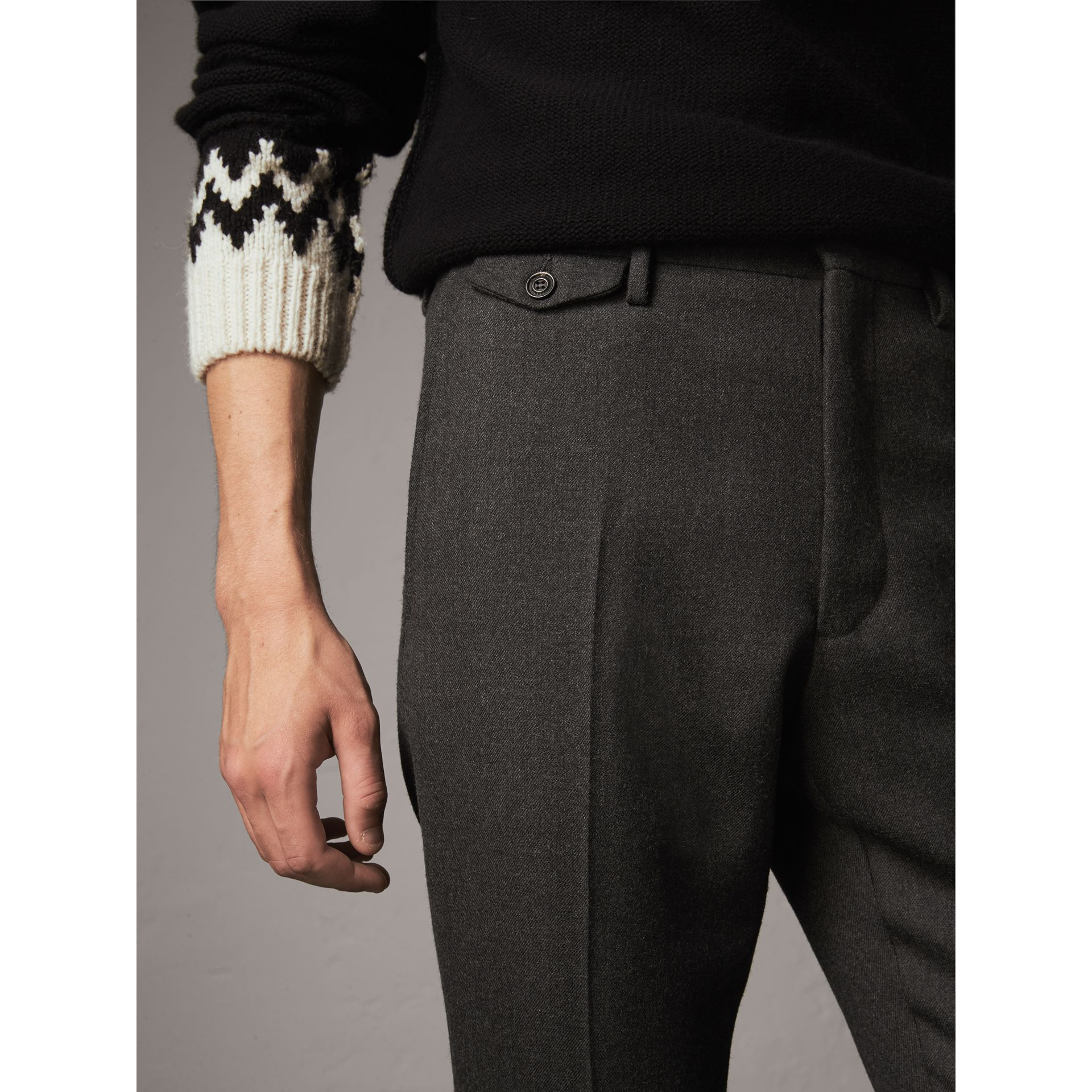 Wool Tailored Trousers in Dark Grey Melange - Men | Burberry - gallery image 1