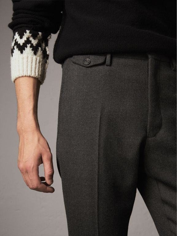 Wool Tailored Trousers in Dark Grey Melange - Men | Burberry - cell image 1