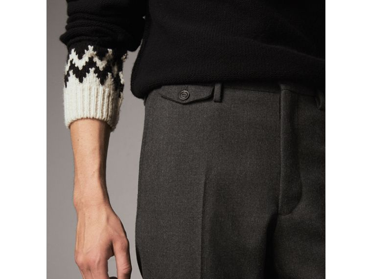 Wool Tailored Trousers in Dark Grey Melange - Men | Burberry Australia - cell image 1