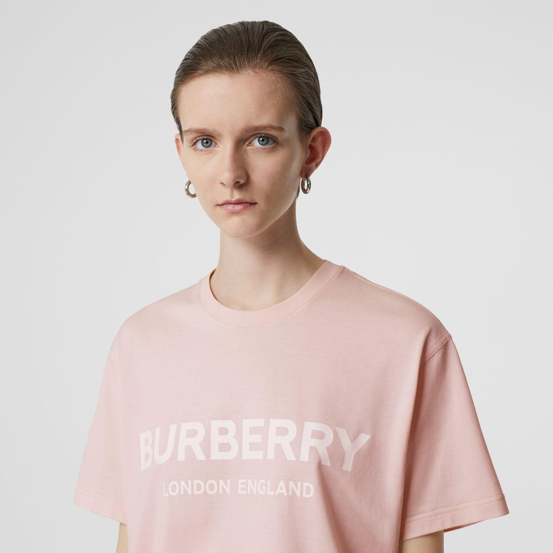 Logo Print Cotton Oversized T-shirt in Alabaster Pink - Women | Burberry Australia - gallery image 1
