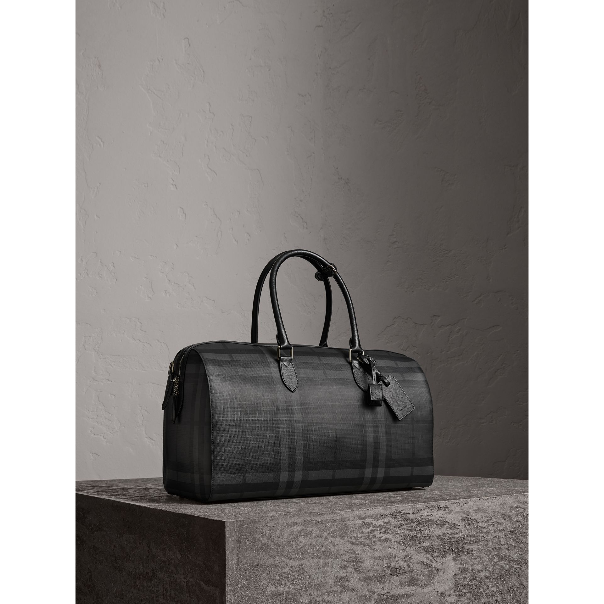 Leather Trim London Check Holdall in Charcoal/black - Men | Burberry - gallery image 6