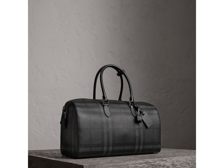 Leather Trim London Check Holdall in Charcoal/black - Men | Burberry - cell image 4