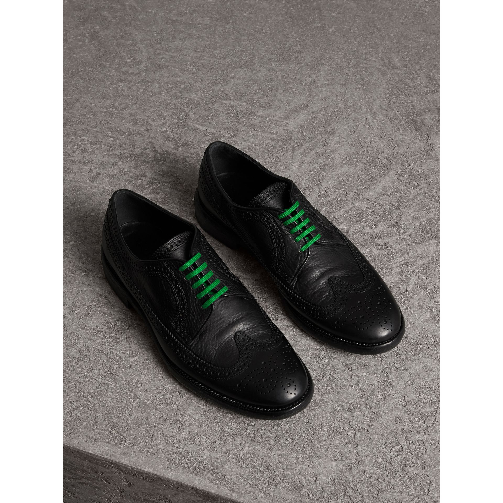 Grainy Leather Brogues with Bright Laces in Black - Men | Burberry - gallery image 1