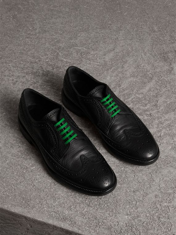 Grainy Leather Brogues with Bright Laces in Black