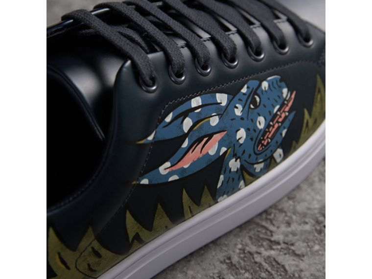 Beasts Print Leather Trainers in Navy - Men | Burberry - cell image 1