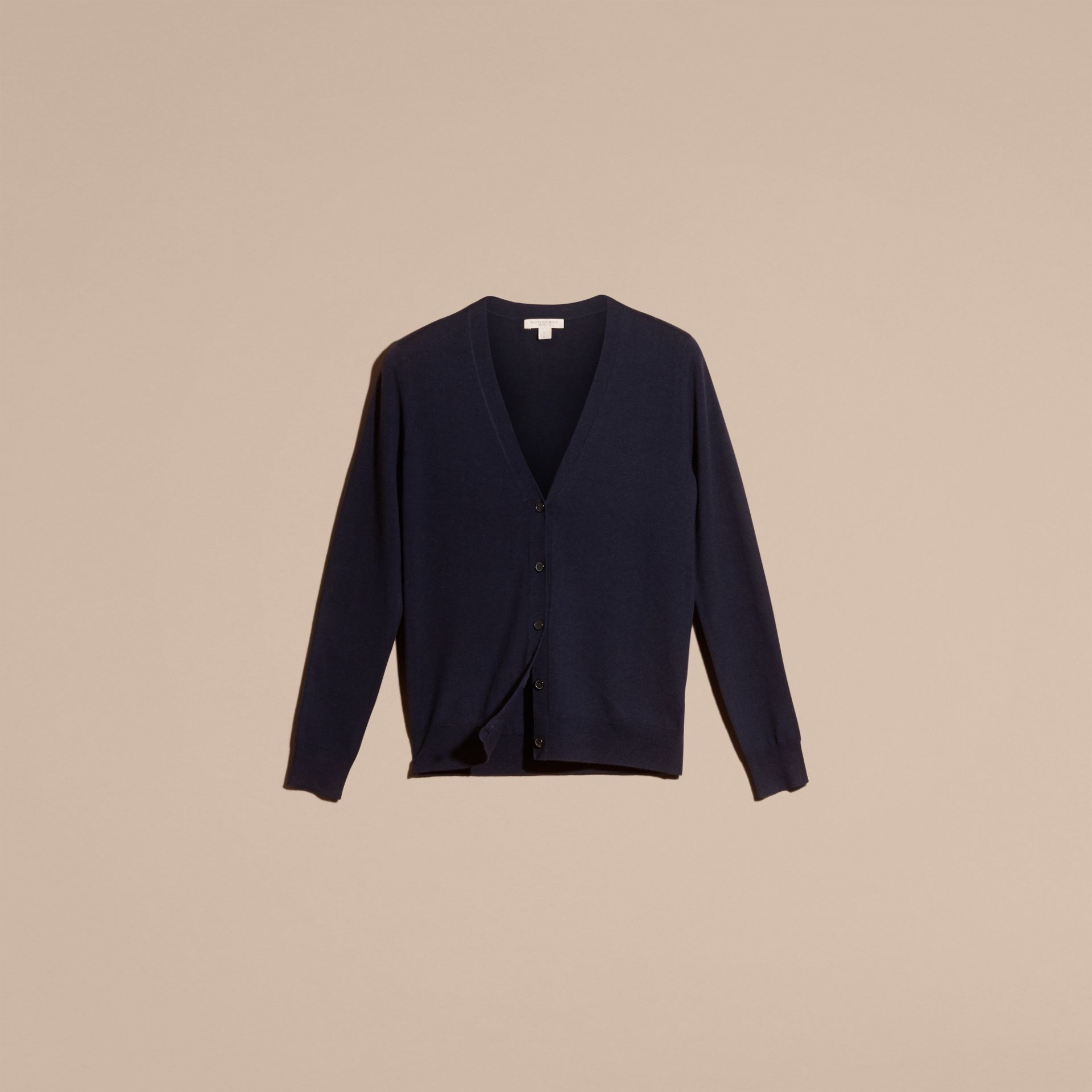 Check Detail Merino Wool Cardigan in Navy - Women | Burberry - gallery image 4