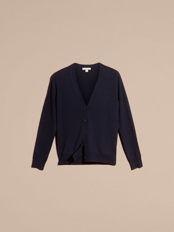Check Detail Merino Wool Cardigan in Navy - cell image 3